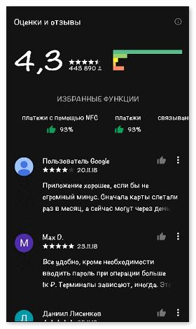 Отзывы о приложении на Google Play