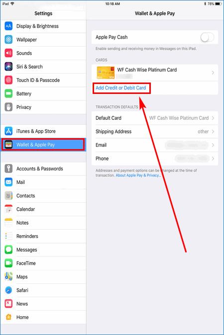 Добавление карты на iPad для Apple Pay