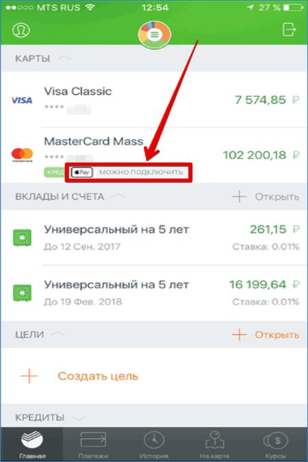 Меню карты Сбербанк Онлайн для Apple Pay