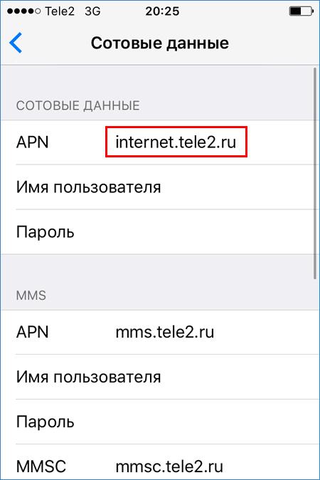 Сетевые настройки iPhone
