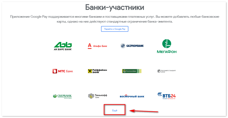 Список банков участников Google Pay