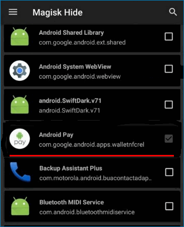 Выбор Android Pay в Magisk Hide