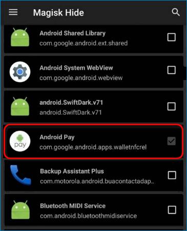 Выбор Android Pay в меню Magisk Hide