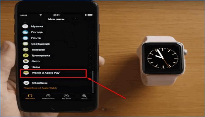 Выбор опции Wallet и Apple Pay