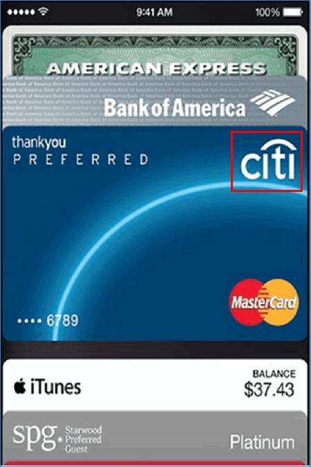 Карта Citibank в Wallet