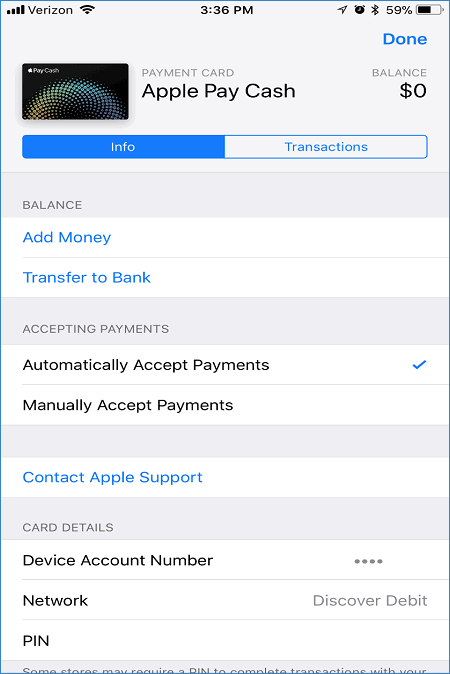 Настройки Apple Pay Cash