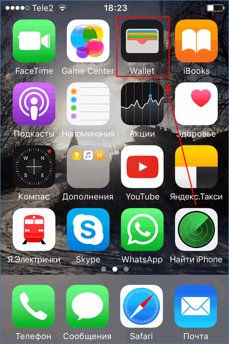 Приложение Wallet на iPhone