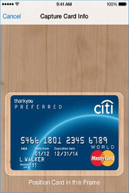 Сканирование карты Ситибанк для Apple Pay