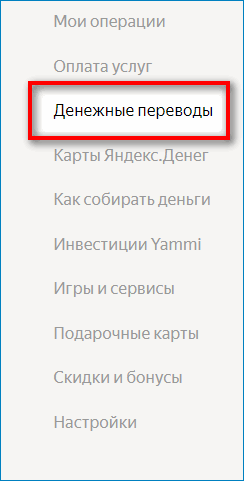 Денежные переводы в Яндекс.Деньги