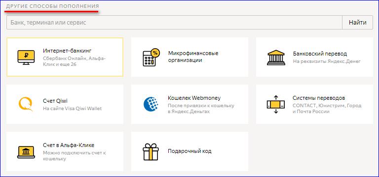Дополнительные способы пополнения Яндекс Кошелька