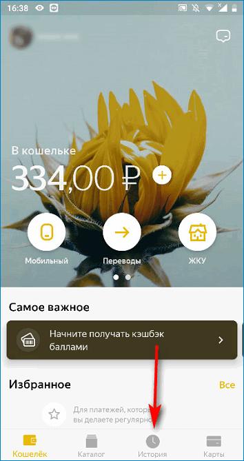 История операций в приложении Яндекс.Деньги