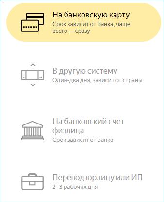 Перевод на банковскую карту из электронной системы Яндекс.Деньги