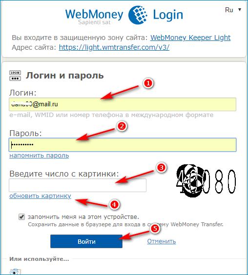 вход через пароль вебмани