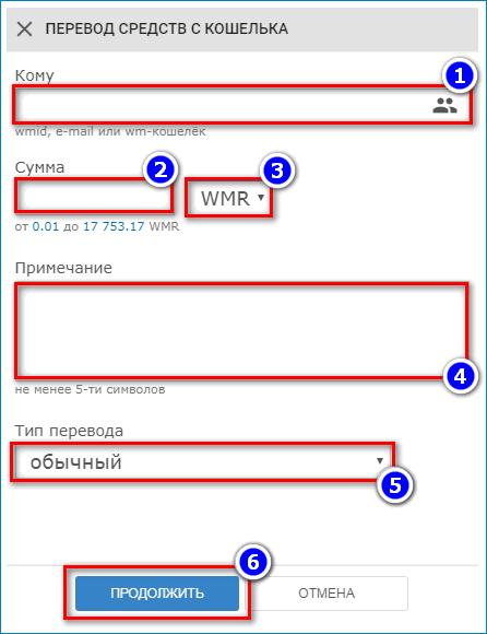 Ввод данных для перевода WebMoney