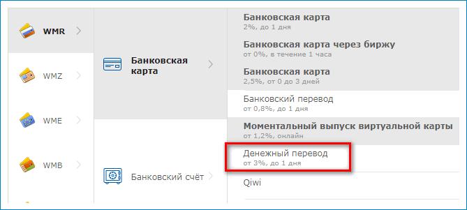 Вывод денежным переводом WebMoney