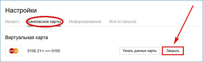 Кнопка закрытия виртуальной карты в Yandex.Money