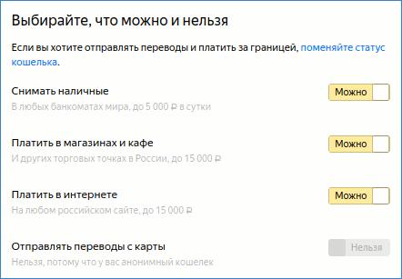Настройки виртуальной карточки Яндекс