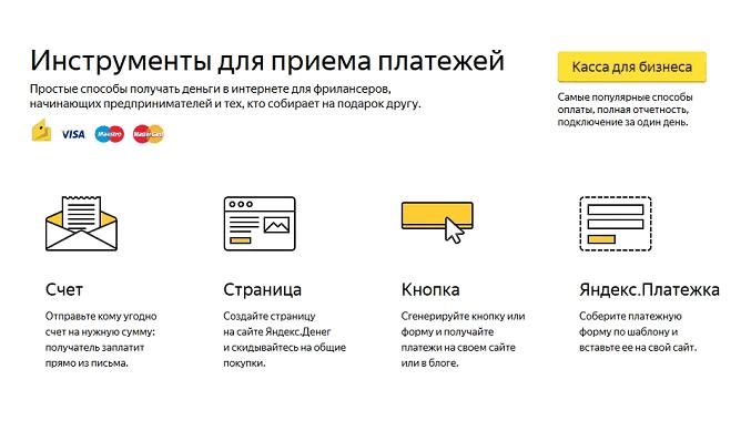 Платежи через Яндекс Деньги