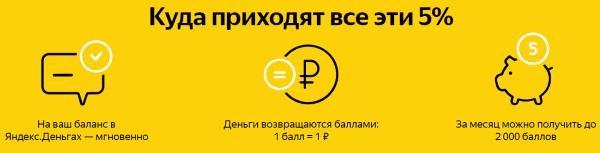 Условия кэшбэка 5 % от Яндекса