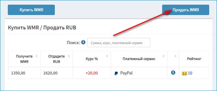 Кнопка Продать WMR при обмене ПейПал