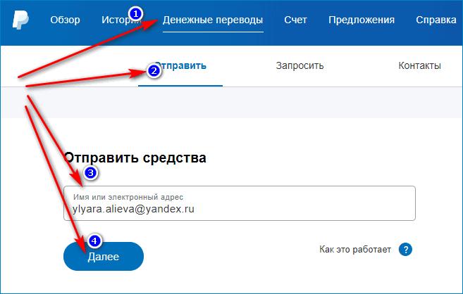 Перевод денежных средсв в PayPal