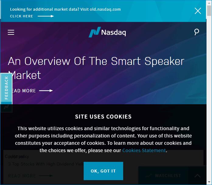 Сайт NASDAQ