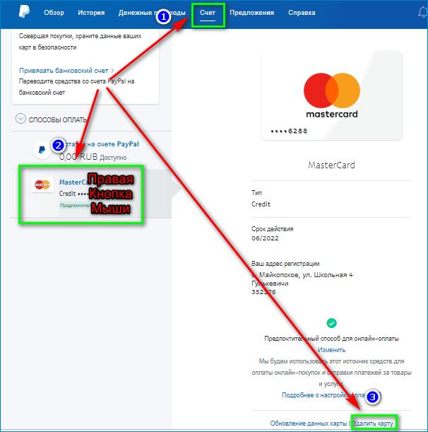 Удаление карты с PayPal
