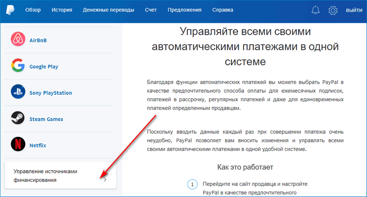 Вкладка Управление источниками финансирования в PayPal